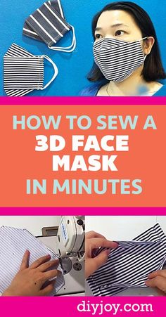 DIY Face Mask - How to Make A Face Mask That Does Not Touch The Face - Quick DIY Face Mask Patterns - Free Patterns for Making Fabric Masks - Sewing Tutorials and Project Videos -Covid Tips Sewing Patterns Free, Sewing Tutorials, Free Pattern, Sewing Projects, Pocket Pattern, Sewing Ideas, Easy Face Masks, Diy Face Mask, 3d Face