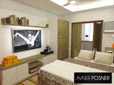Projeto 3D de conjugado para jovem solteiro por Avner Posner.