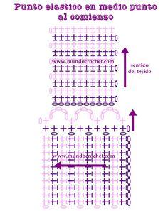 Como tejer el punto elastico con medio punto a crochet o ganchillopaso a paso15
