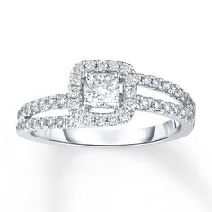 Diamond Engagement Ring 5/8 Carat tw 14K White Gold  holy crap this is gorgeous!!!!!