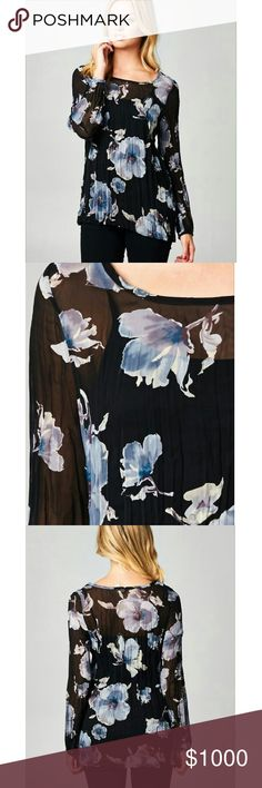 """Floral printed chiffon top I love this so much! Broomstick fabric. Polyester. Sheer.  Bust measurement are approx because the broomstick fabric allows some give.  S: 16"""" pit to pit, 26"""" length M: 17"""" pit to pit, 27"""" length L: 18"""" pit to pit, 27"""" length Tops Blouses"""