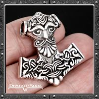 Dragon Soul Jewelry Sterling Silver Viking Dragons Thors Hammer Pendant