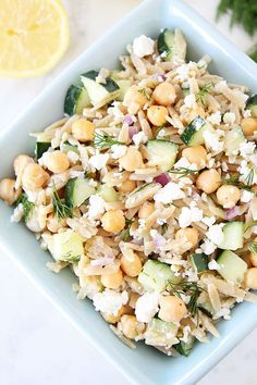Orzo Salad with Chickpeas, Cucumbers, Lemon, Dill, & Feta Recipe on twopeasandtheirpod.com #salad #vegetarian #summer