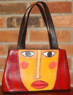 Hand Painted Handbag Purse Shoulder Bag Funky Abstract