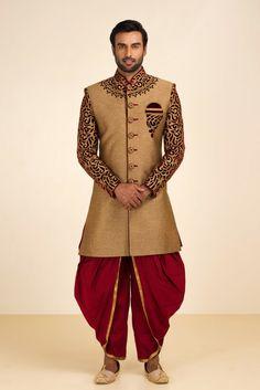 MFS Antique Gold Sherwani With Maroon Dhoti. #flyrobe #groom #groomwear #groomsherwani #sherwani #flyrobe #wedding #designersherwani