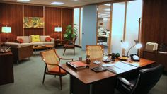 "The ultimate Mid-Century Modern office, courtesy of Don Draper on ""Mad Men."" LOVE THIS!"