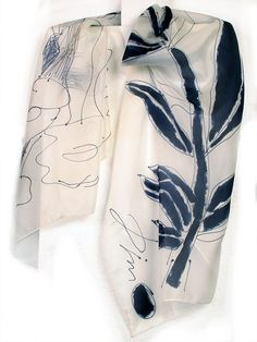Black and White silk scarf paint by hand  Floral silk by klaradar, €75.00