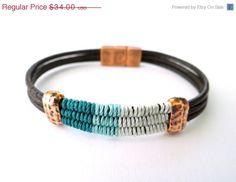 BLACK FRIDAY SALE Thread & Leather Bracelet with por MaisJewelry