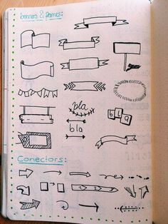 Imagem relacionada Bullet Journal Headers, Bullet Journal Writing, Bullet Journal Notes, Bullet Journal Ideas Pages, Bullet Journal Inspiration, Banner Doodle, Banner Drawing, Doodle Designs, School Notes