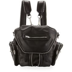Alexander Wang Marti Mini Ball Studded Backpack ($955) ❤ liked on Polyvore featuring bags, backpacks, black, genuine leather backpack, expandable backpack, strap backpack, alexander wang backpack and leather rucksack