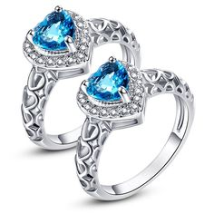 US Free Shipping 2 PCS Wedding Jewelry Love Engagement Rings for Women Heart Topaz White CZ Diamond 18K White Gold Fashion Ring