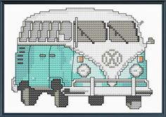 Teal VW Bus Cross Stitch Pattern or Kit