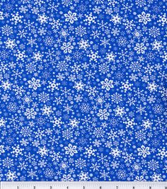 Fabric choice for DIY Ribbon Table Runner project. Pair with silver and white.     Noel Collection Cotton Print-Snowflakes Blue (# 1793231)    $6.99/yd
