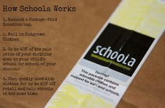 A post from a blog Moosh 'n' Indy about a website called Schoola. You can buy gently used clothes and send your children's clothes to them as well.