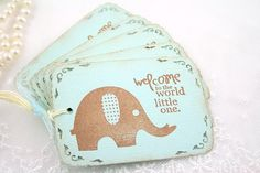 Baby Boy Gift Tags - Vintage Elephant - Welcome to the World