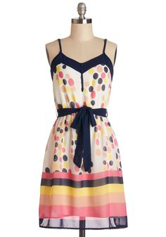 Show Your Colors Dress. Let your beautiful radiance shine through the pink, taupe, and yellow hues on this printed dress!  #modcloth