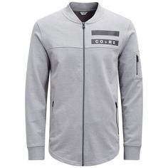 Sharp urban style: sweat cardigan or warm jacket for spring. Long-line, light grey with graphic details, made from cotton in regular fit | JACK & JONES
