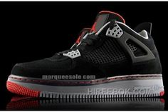 Air Jordan Force Fusion 4 Black Varsity Red Cement Gray Lastest f8d83c5ee3