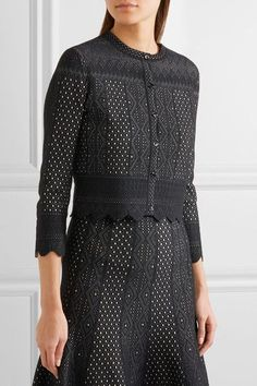 Black and white pointelle-knit  Button fastenings through front  48% viscose, 43% silk, 9% polyester  Dry clean Made in Italy