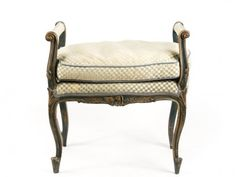 Painted Window Bench w/ Green Checked Fabric : Lot 598. Hammer Price: $700