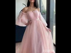 Hebeos A-Line/Princess Long Sleeves Sweep/Brush Train Tulle Applique Off-the-Shoulder Dresses Pink Wedding Gowns, Davids Bridal Bridesmaid Dresses, Cute Prom Dresses, Prom Dresses With Sleeves, Ball Dresses, Ball Gowns, Wedding Outfits, Evening Dresses, Off Shoulder Gown
