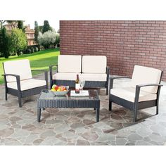 Satisfy your yearning for an outdoor living space that is asspecial to you as your indoor living space. This four-piece patioset by Safavieh Outdoor Living is as fashionable as it iscomfortable with c