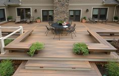 Stain on a deck will just persist for a few decades. Patio decks are normally made of wood and wood pallets. The deck has turned into a revered outdoor space of the contemporary American home. If your deck is made… Continue Reading → Backyard Patio Designs, Backyard Landscaping, Patio Decks, Low Deck Designs, Backyard House, Backyard Ideas, Patio Stairs, Patio Fence, Wood Stairs
