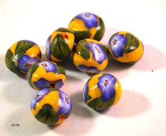 Blue Flower Lentil Beads, Handmade Polymer Clay Beads, Polymer Clay Beads for Sale, Jewelry Making Supplies, Lentil Beads