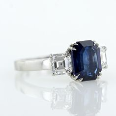 4.10 carat Emerald Cut Sapphire and 1.33 ct Diamond Ring - 30-91-1891 - Lang Antiques can be mine for only $14,750!