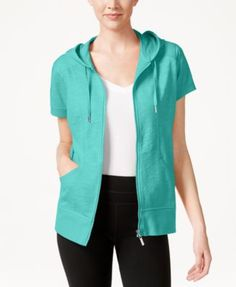 Style & Co. Short-Sleeve Zip-Front Hoodie, Only at Macy's - Jackets - Women - Macy's