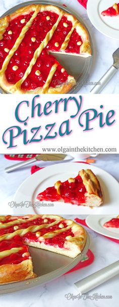 Cherry Pizza Pie: A creamy Cherry Pizza Pie with mixture of cream cheese and canned cherries topping brings out a delicious taste you can't resist. | olgainthekitchen.com