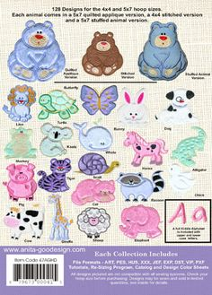 Anita Goodesign - Stuffed Animals - These guys are SOOO cute!! Done in Minkee, cutest little stuffed animals ever, and perfect for little baby hands to clutch, and be gnawed upon!