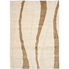 Safavieh Shag Cream and Dark Brown Rectangular Indoor Machine-Made Area Rug (Common: 5 x 8; Actual: 63-in W x 90-in L x 0.67-ft Dia)