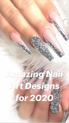 Acrylic Nail Designs Glitter, Bling Acrylic Nails, Simple Acrylic Nails, Best Acrylic Nails, Bling Nails, Fun Nails, Coffin Nail Designs, French Manicure Designs, Fingernail Designs