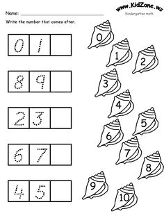 math activity pages - What comes Next? Number sequencing ocean theme for kindergarten