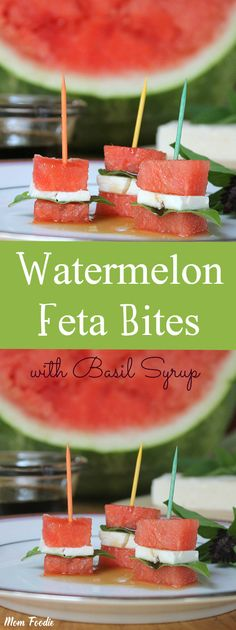 Watermelon-Feta Appetizer Bites topped with Basil Syrup