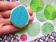 leaf rubber stamp. hand carved rubber stamp. large by talktothesun, $10.00: