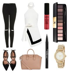 """""""being basics👄"""" by staciageraldine ❤ liked on Polyvore featuring Finders Keepers, Topshop, Givenchy, Zara, NYX, Yves Saint Laurent, Trish McEvoy and DKNY"""