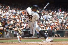 SAN FRANCISCO, CA - JULY 30: Michael Morse #38 of the San Francisco Giants hits an RBI infield single against the Pittsburgh Pirates during the first inning at AT&T Park on July 30, 2014 in San Francisco, California. (Photo by Jason O. Watson/Getty Images)