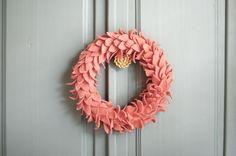 Pastel wreath of felt(?) leaves
