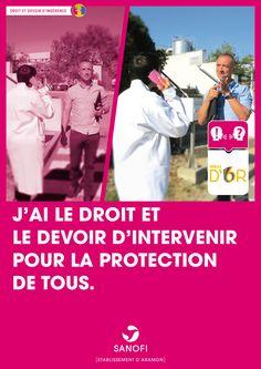 affiche campagne Sécurité pour le site de Sanofi Aramon (Gard).