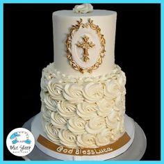 white rosette christening cake