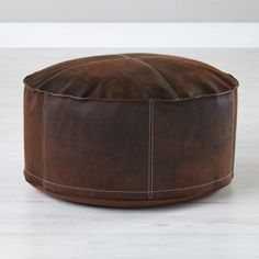 Sit in Style Leather Pouf  | The Land of Nod