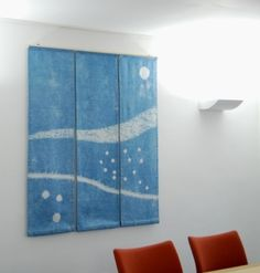 """Flow"" landscape triptych. Shibori patterned, indigo dyed. By Townhill Studio"