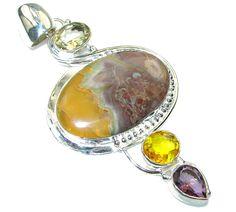 $81.25 Large! New Fashion Of Jasper Sterling Silver Pendant at www.SilverRushStyle.com #pendant #handmade #jewelry #silver #jasper