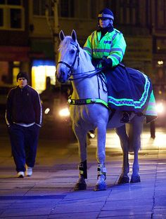 Greater Manchester Police horses can be found on patrol at any hour and are perfectly happy working at night in an urban environment. This grey was briefly transformed into the Force's most vividly coloured horse by the lights of a shop window while patrolling late one evening. For more information about Greater Manchester Police's Tactical Mounted Unit or any other aspect of the Force please visit our website. www.gmp.police.uk