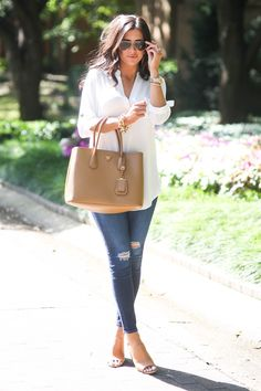 bdbe3d2003d0 White top and denim with brown accessories is always my go to. It s so easy