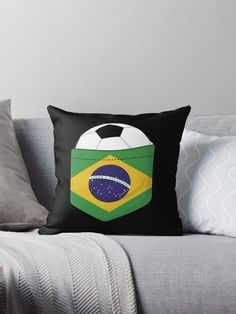 Football Brazil in the breast pocket Football Brazil, Breast, Soccer, Throw Pillows, Bed, Sports, Design, Sleeveless Tops, Brazil