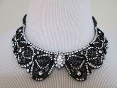 NWT Auth Betsey Johnson Jet Black Iconic Crystal Bow Collar Filigree Necklace