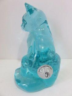 "FENTON LIGHT BLUE/AQUA GLASS FACTORY TAG *FENTON ART GLASS* SITTING CAT 3.5"" T  #Fenton"